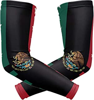 Y-RED-AA Mexican American Flag Cooling Arm Sleeves Cover Uv Sun Protection for Men Women Running Golf Cycling Arm Warmer Sleeves 1 Pair