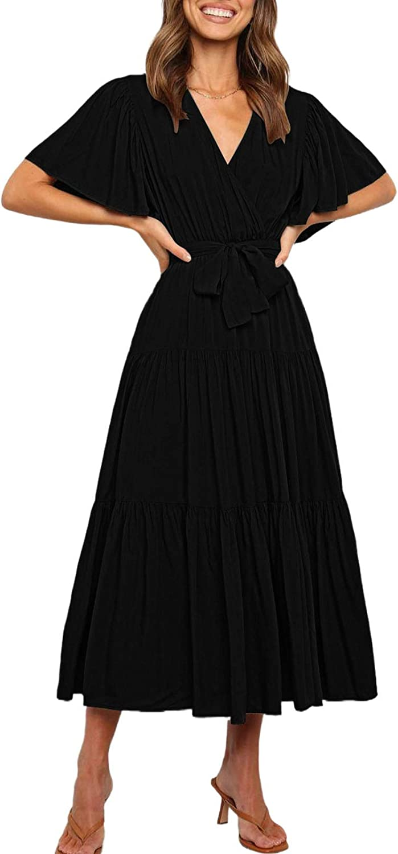 Linsery Women V Neck Pleated Maxi Dress Tie Waist Flowy Wrap Party Long Dresses