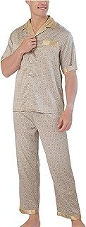 XCTLZG Men's Silk Pajama Set 100% Pure Mulberry Silk Short Sleeve Sleepwear Lightweight Button Down Tops and Pants/Bottoms...