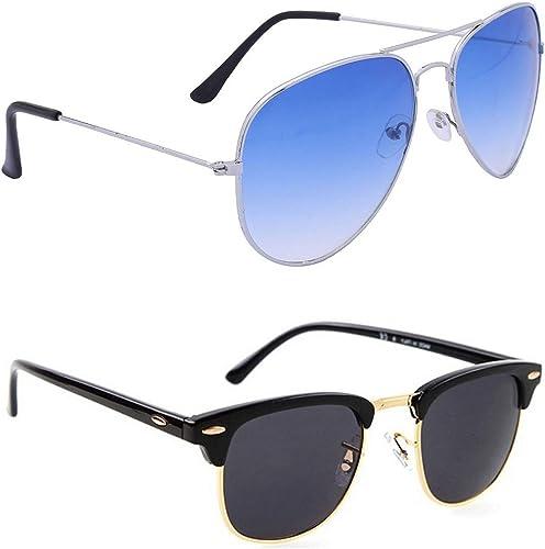Aviator and Rectangular Men s and Women s Sunglasses Combo Blue Black Pack of 2