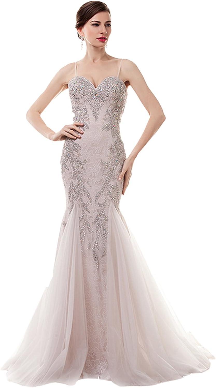BessWedding Women's Sweetheart Spaghetti Strap Rhine Stone Prom Wedding Dress