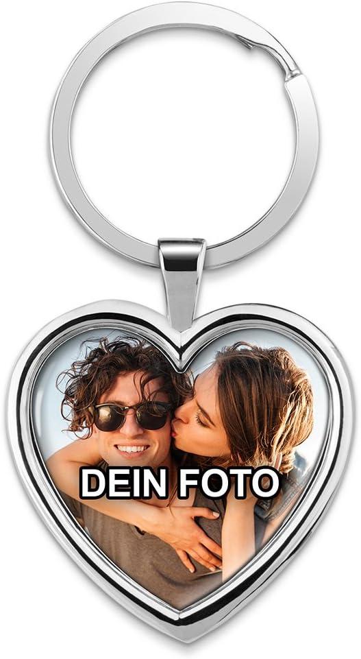 Photofancy Schlüsselanhänger Mit Foto Bedrucken Lassen Chrom Anhänger Mit Eigenem Bild Personalisieren Schlüsselanhänger Herz Spielzeug