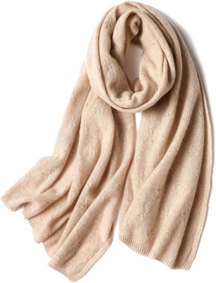 Teerwere Scarf Ms. Scarf Large Shawl Large Soft Silk in Pure Color Winter Neck Warm Scarfs for Women Lightweight (Color : Camel, Size : One Size)