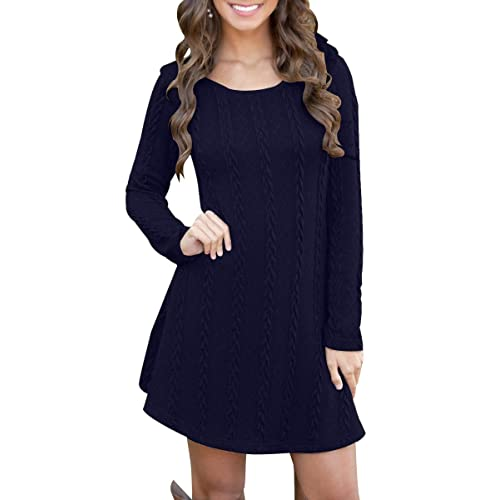 81d5d6ae597 BienBien Robe Pull Tricot Femme Manches Longues Automne Hiver Mince Robe  Sweater Tricot Casual A Line