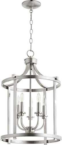 Quorum 6807-5-65 Transitional Five Light Entry Pendant from Lancaster Collection in Pewter, Nickel, Silver Finish,