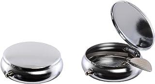 Atomic Pocket Askkopp metall rund polerad krom diameter 50 mm med cigarettbricka askfat