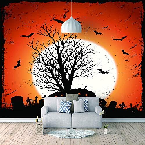 Papel Pintado 3D Foto Murales Arbol de halloween,Papel Tapiz Fotográfico Premium No-Tejido Mural Apto para Sala de Estar Dormitorio Decoración de la Papel Tapiz 450x300 cm - 9 tiras