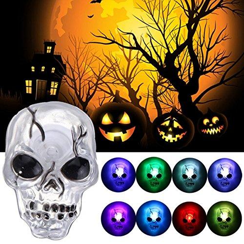MASUNN Couleur Changeant LED Crâne Nuit Lumière Ventouse Halloween Fête Maison Décor