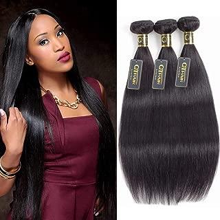 QTHAIR 12A Grade Brazilian Virgin Straight Human Hair Weave 3 Bundles 300g 8 10 12 inch 100% Unprocessed Brazilian Straight Bob Hair Weave Human Hair Extensions Natural Black Color