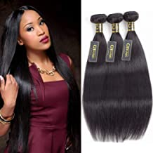 QTHAIR 12A Brazilian Straight Human Hair Weave 3 Bundles (10 12 14,300g) 100% Unprocessed Virgin Brazilian Straight Hair Extensions Natural Black Color Brazilian Grace Hair