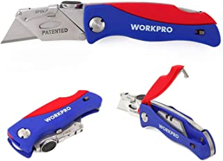 WORKPRO Folding Utility Knife Quick-change Box Cutter, Blade Storage in Handle with 5..