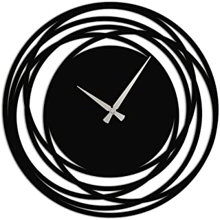 Wallcentre Art Beyond Imagination Metal Wall Clock with Loop Pattern for Home, Office, Living Room Decor (Black, Size: 1.5...