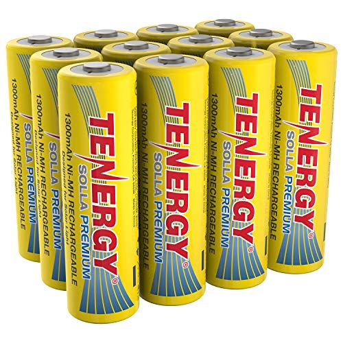 Tenergy Solla Premium Rechargeable NiMH AA Battery, 1300mAh Solar Batteries for Solar Garden Lights, Anti-Leak, Outdoor Durability, 5+ Years Performance, UL Certified, Pre-Charged 12 Pack