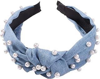 Beaupretty Cerchio per Capelli Fascia Perlato Jeans Azzurro Larga Accessori Ornamenti dei Capelli Regalo per Bambina