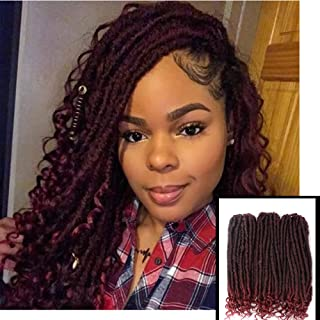AILEWEI Goddess Locs Crochet Hair Faux Locs with Curly Ends 3 Packs/lot Crochet Twist Braiding Hair 24 Roots Black Mixed Burgundy Synthetic Goddess Locs Hair Extension(Color: 1B/Bug,16'')