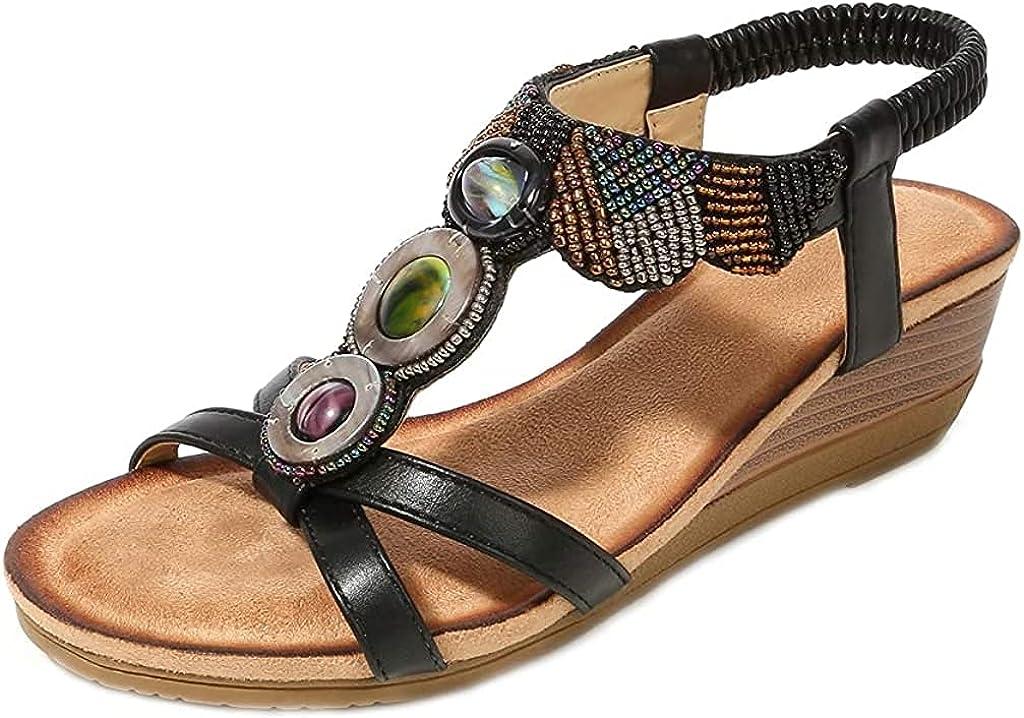 2021new Omaha Mall shipping free Womens Bohemia Beaded Wedge Sandal Comfort Toe Platform Open Sum