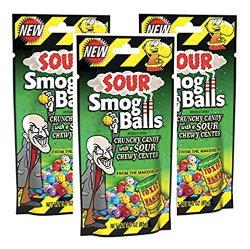 Toxic Waste - Sour Smog Balls - Deliciously Hard Candy with a Chewy Sour Center, Six Flavors, 3 oz. - 3 bags from Candy Dynamics