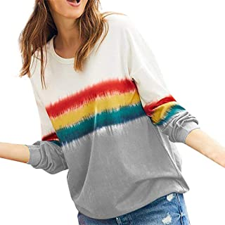 Womens Casual Gradient Striped Printed T-Shirts Long Sleeve Loose Pullover Sweatshirt Tops Blouse
