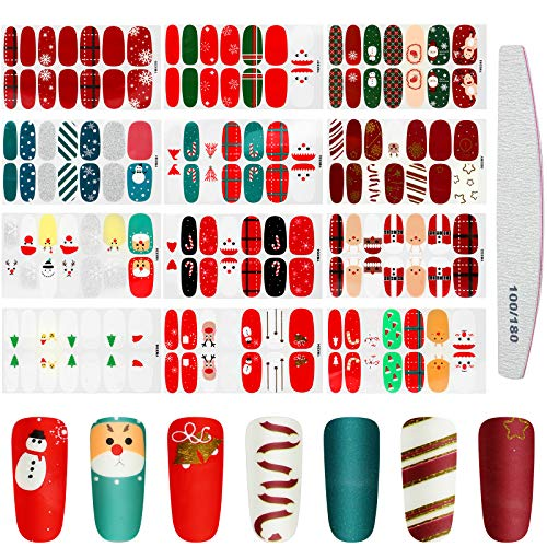 12 Sheets Christmas Adhesive Nail Polish Stickers Nail Art Full Cover Sticker Christmas Full Nail Wraps with Deer Snowman Xmas Tree Design and Nail File for Nail Art Decoration Manicure