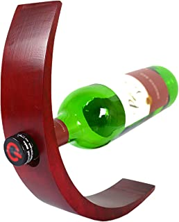 CinMin Hand-Carved Red Wood Wine Bottle Balance and Holder