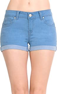 Wax Women's Juniors Mid-Rise Denim Shorts
