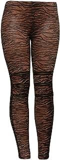Brown Zebra Zippered Knees Ladies Leggings Shear Tights