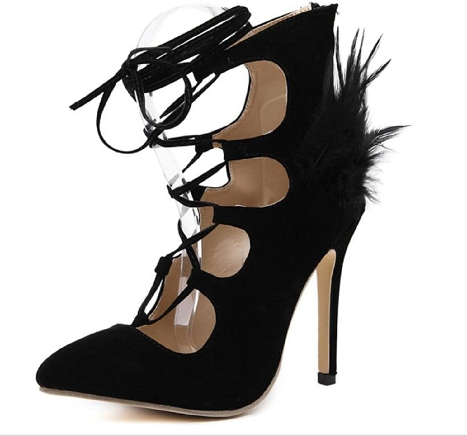 LINYI Stiletto Heels Temperament Suede Sandals Pointed Toe Ankle Strap Female Summer Black shoes