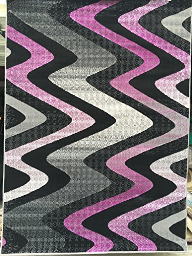 Wave Design Purple and Grey Area Rug