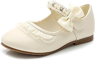 Zapatos de Vestir para niñas Color sólido Casual Pearl Bowknot Mary Jane Zapatos Planos Niños Dance Performance Princess Z...