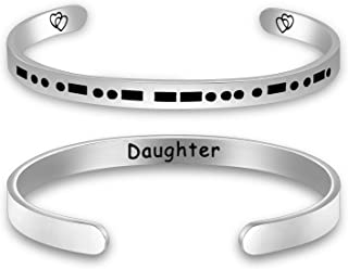 PENQI Daughter Cuff Bangle Morse Code Cuff Bangle Secret Message Jewelry Daughter Gift From Mother Father