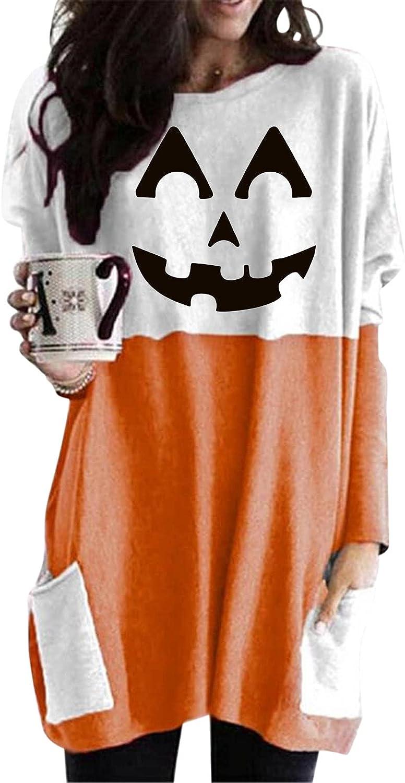 felwors Womens Halloween Sweatshirt, Womens Oversized Long Sleeve Pumpkin Cat Print Tops Loose T Shirts with Pockets