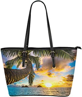 InterestPrint Fashion Summer Beach Palm Tree Leather Tote Shoulder Bags Handbags for Women