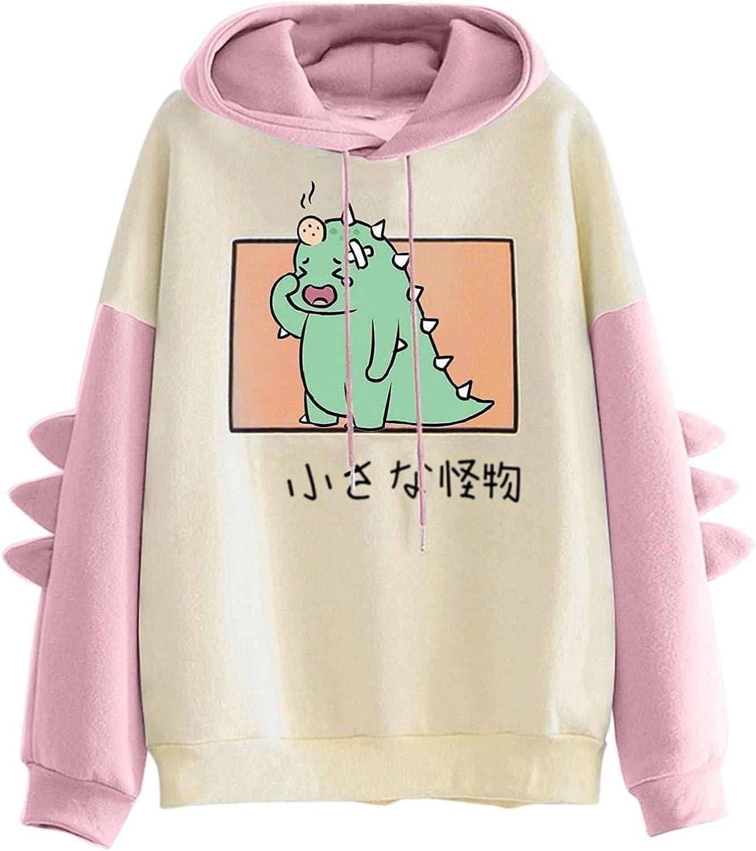 ONHUON Sweatshirts for Women, Womens Teen Girls Fashion Dinosaur Print Long Sleeve Hoodies Sweatshirt Casual Blouse Tops