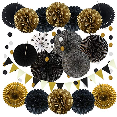 Zerodeco Party Decoration, 21 Pcs Black and Gold Hanging Paper Fans, Pom Poms Flowers, Garlands String Polka Dot and Triangle Bunting Flags for Birthday Party graduations Wedding Décor Happy New Years