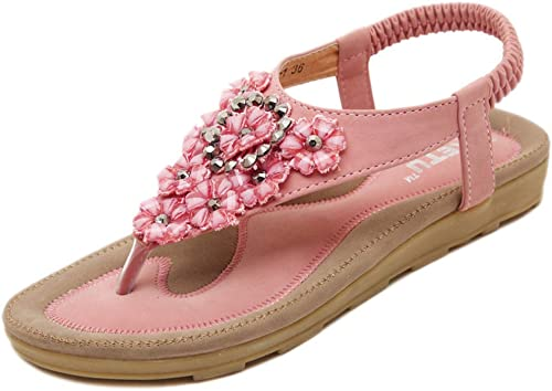 L-X Sandales Bohèmes pour Les Femmes Lanières D'été D'été Fleur en Plein Air à Chevrons Sangle Bride Strass étudiant Chaussures Plates, Rose, 39 UE  assurance qualité