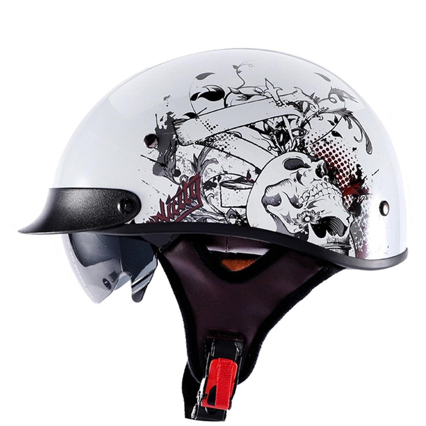 反応するバナナ明らか(Grace)12色可選バイク用 ハーレー バイク ヘルメット ハーフ ヘルメット 半帽ヘルメット 半キャップ ヘルメット Gce-112 (XL, 商品02)