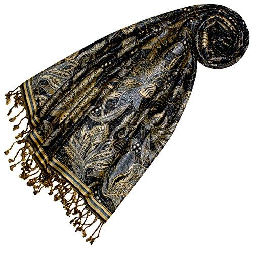 Lorenzo Cana Marken Damenpashmina Schal Schaltuch Stola Umschlagtuch Naturfaser opulentes Muster in harmonischen Schwarz Blau Gold Farben mit Fransen 70 cm x 200 cm - 78438