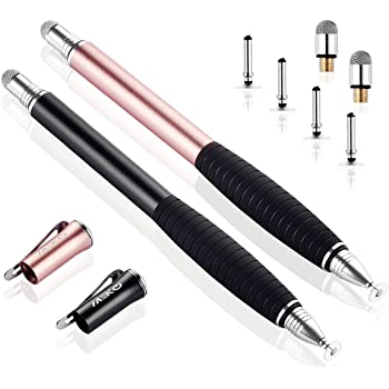 MEKO [2nd Gen] Universal Disc Stylus Pens, [2 in 1 Precision Series] for iPhone X/8/8plus iPad/iPad Pro/iPad Mini All Capacitive Touch Screens Bundle 6 Replacement Tips(2Pcs,Black/Rose Gold)