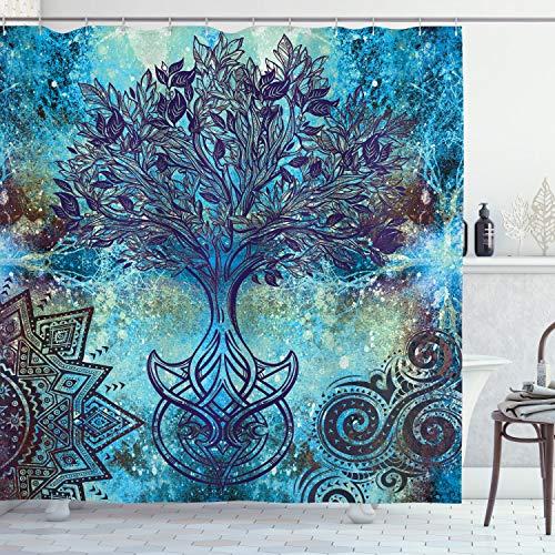 ABAKUHAUS Ethnisch Duschvorhang, Ethnische Mandala Bäume, Wasser Blickdicht inkl.12 Ringe Langhaltig Bakterie & Schimmel Resistent, 175 x 200 cm, Türkis Braun