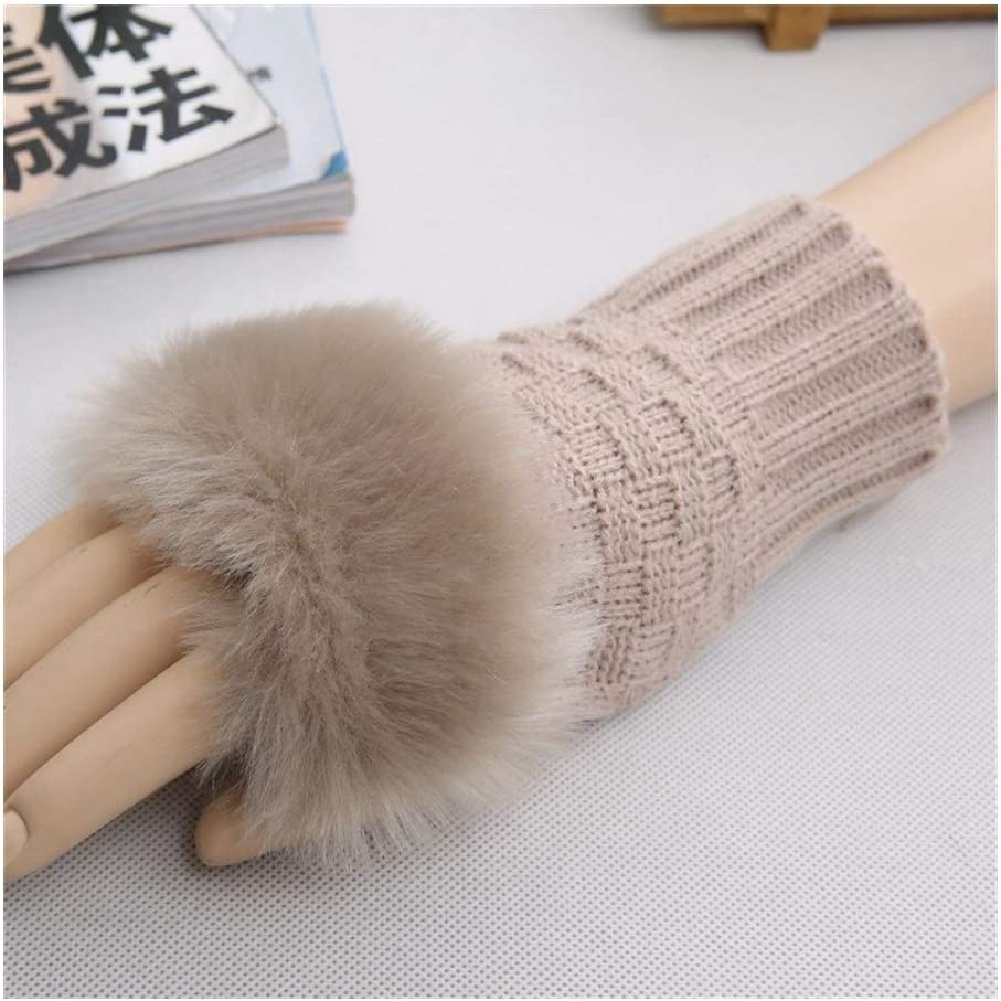 Ashtray JINJINTAO Half-Finger Gloves Winter Women Keep Warm Woollen Yarn Knitted Outdoor Gloves Cute Mitts Stylish and Practical Finger Gloves (Color : Khaki, Size : One Size)
