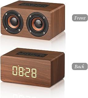 Despertador de Madera, Altavoz Bluetooth Inalámbrico 6W, LED Pantalla, Bluetooth 4.2, Alarma Programable, Llamada Manos Libres, Soporta TF Tarjeta, Batería de 1500mAh, USB Cable Incluido