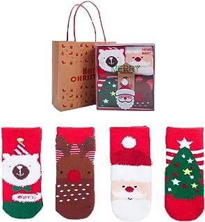 M_RAC Baby 4 Pairs Christmas Kids' Warm Winter Socks New Year Kids Gift 0-10 Years