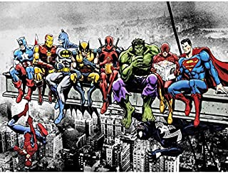 Ink Comics Superheros Diamond Painting Kit for Adults, 5D Full Drill DIY Arts & Crafts Bling Artwork Decor Gift Set with Crystal Rhinestone Gems 11.81x15.75 inch