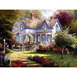 Pintura al óleo de Bricolaje,Pintura por números,Villa Jungle Garden Pintar por Numeros Adultos Niñost Principiantes, para hogar decoración de casa (sin marco) 40 x 50 cm