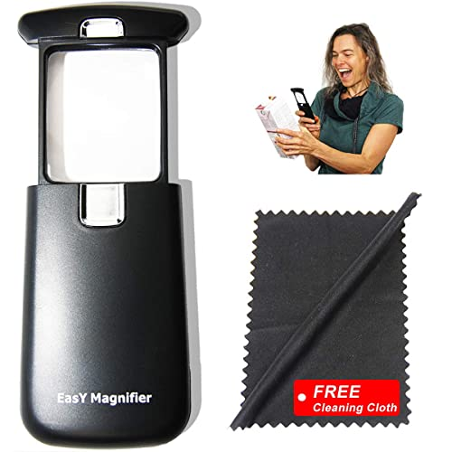 EasY Magnifier Original Pocket Led Magnifying Glass With Light 3X Small Hand Held Lighted Magnify Glasses