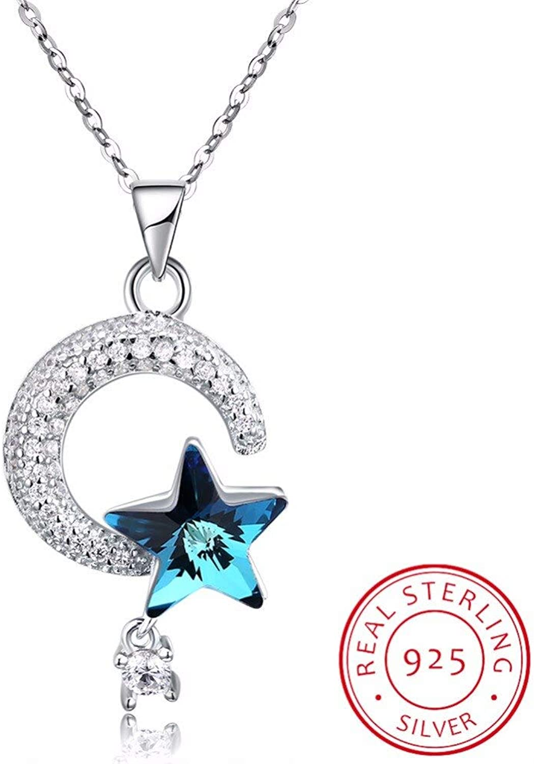 925 Sterling Silver Crescent Moon & Star Crystal Van Pendant Necklaces for Women Fine Jewelry Gifts