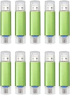 FEBNISCTE 10pcs Green 32GB Micro USB 3.0 OTG Flash Drive for Android