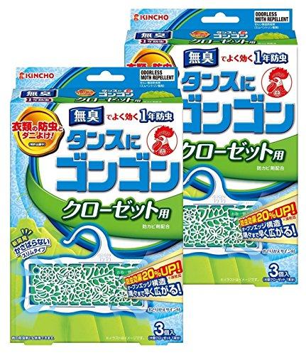 タンスにゴンゴン 1年有効 クローゼット用 3個入×2個 無臭タイプ (防虫 防カビ ダニよけ)