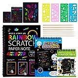 MELLIEX 3 Piezas Scratch Art Paper Notebook, Kit de Manualidades de Papel de Arte de Rascar para Niños Adultos con Regla de Dibujo y Plumas de Madera
