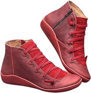 Botas Mujer 2019 Botines Zapatos de Cordones Vintage Otoño Botas Tacón Plano Cómodas Mujeres Botas Cortas con Cremallera C...